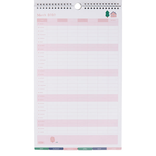 2020 Sweet Family Wall Calendar Small  Woodland Pale Pink