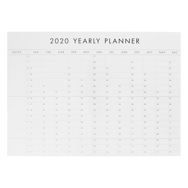 2020 Whiteboard Wall Planner White