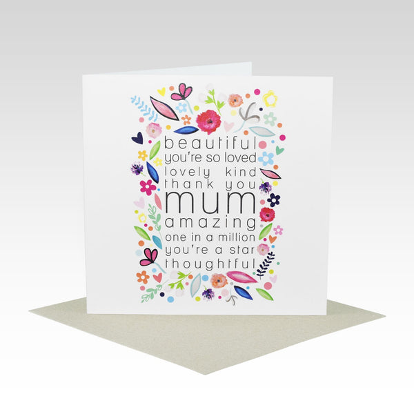 Card MUM Floral Words