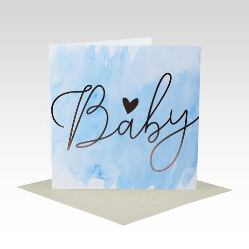 Card Baby Blue Gold Foil