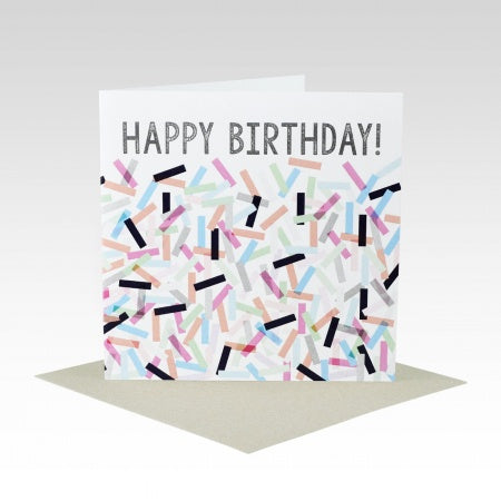 Card Happy Birthday Confetti Pink