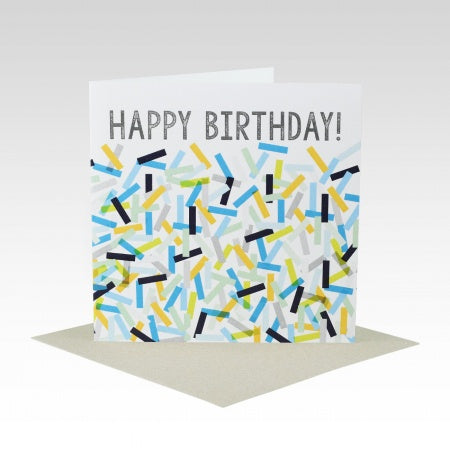 Card Happy Birthday Confetti Blue