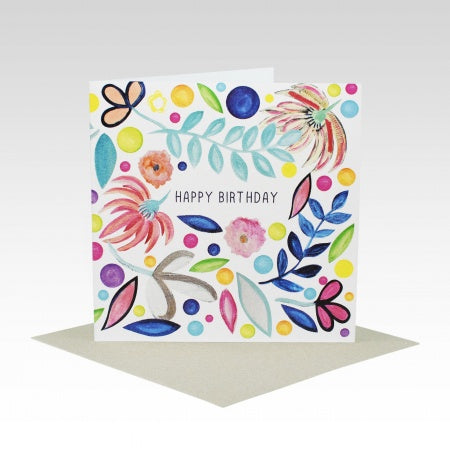 Card Happy Birthday Floral Scattered