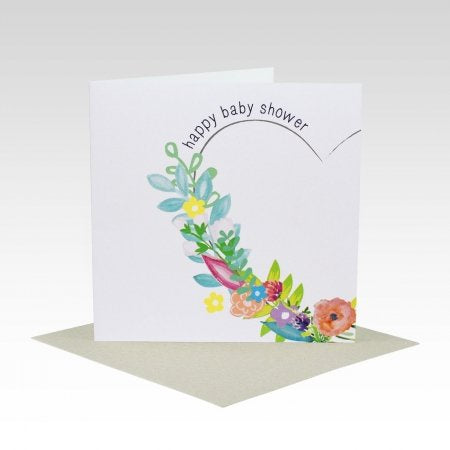 Card Baby Shower Floral Heart