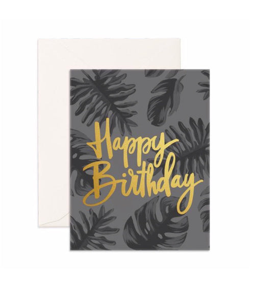 Card Happy Birthday Gold Greeting