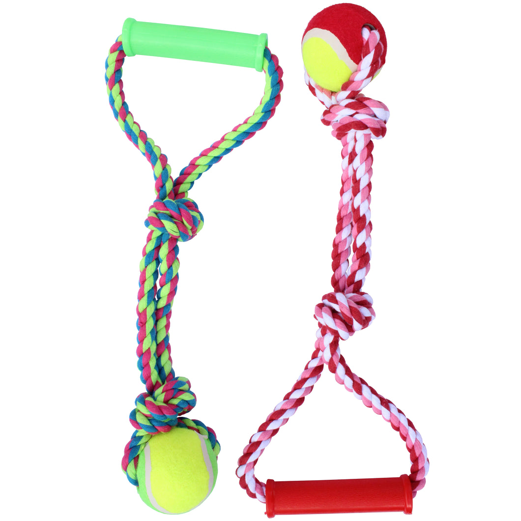 Double Rope Tennis Ball Tug Toy