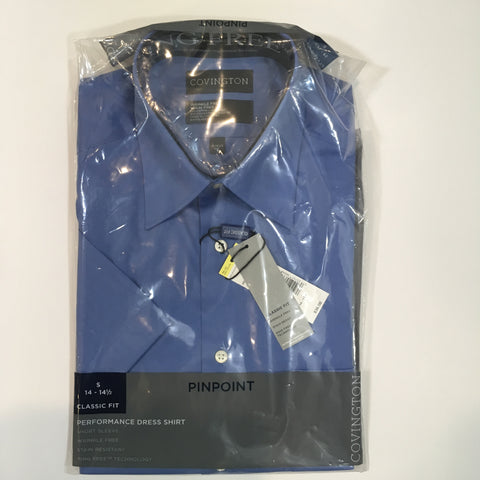 Mens Covington Blue Performance Dress Shirt Short Sleeve