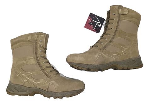 "Rothco 8"" Desert Tan Forced Entry Military Airsoft Deployment Zipper Boots"