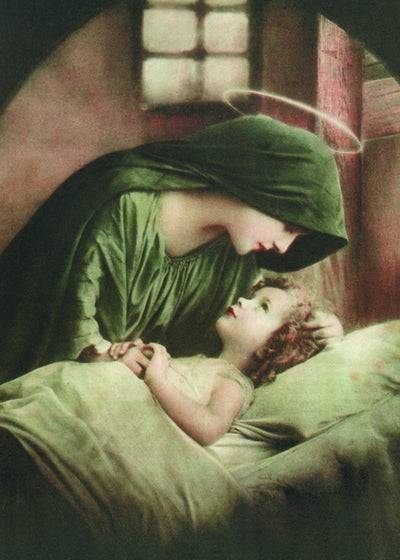 Blessed Mother in Green with the Child Jesus Print 5X7