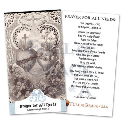 Prayer for All Needs Holy Cards