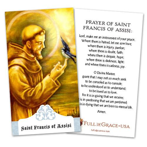 St. Francis of Assisi Holy Cards