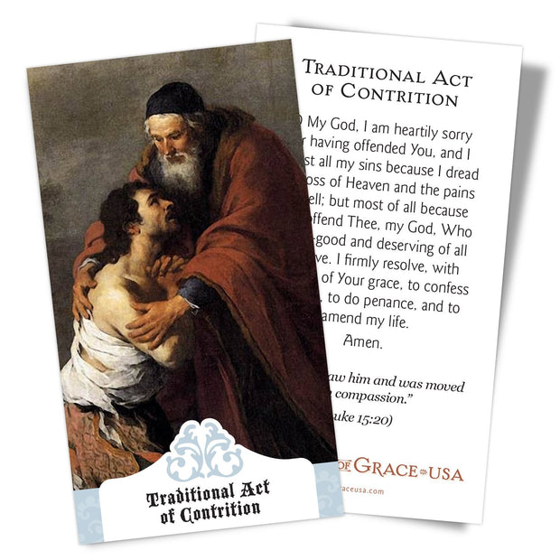 Traditional Act of Contrition Holy Card.