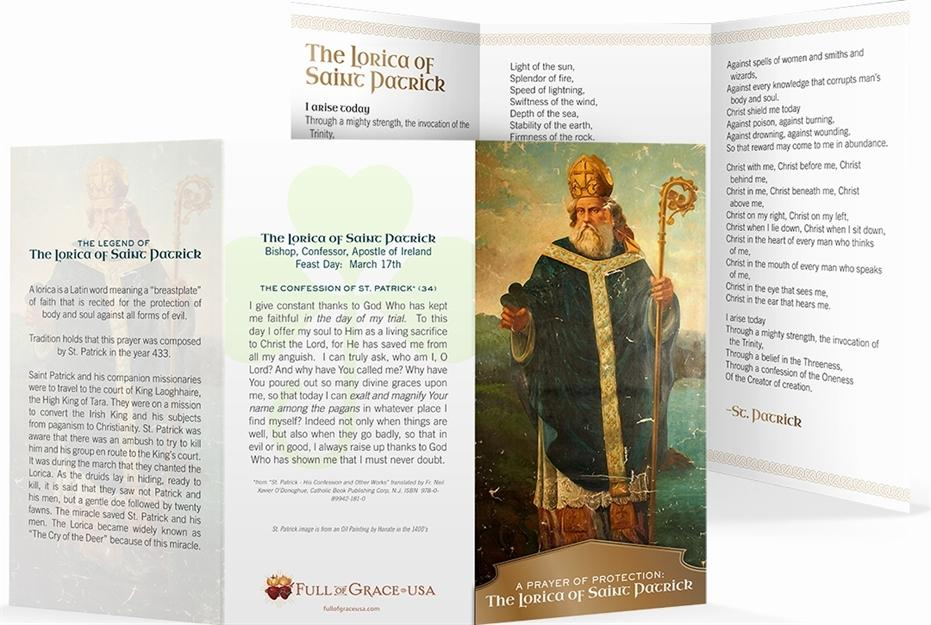 The Lorica of St. Patrick Trifold Holy Cards - Original Wallet Size (3
