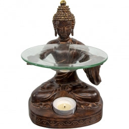 Polyresin Oil Burner - Offering Buddha (Each)