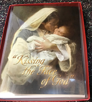""" Kissing the face of God"" 12 cards and envelopes..... Christmas card"