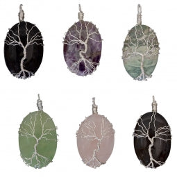 Wire Wrapped Pendant Tree of Life - Asst'd Stones
