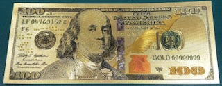 100 dollar gold bill