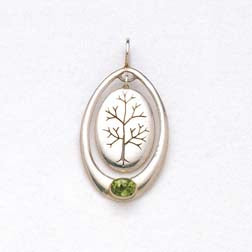 Pendant Tree of Life with Peridot