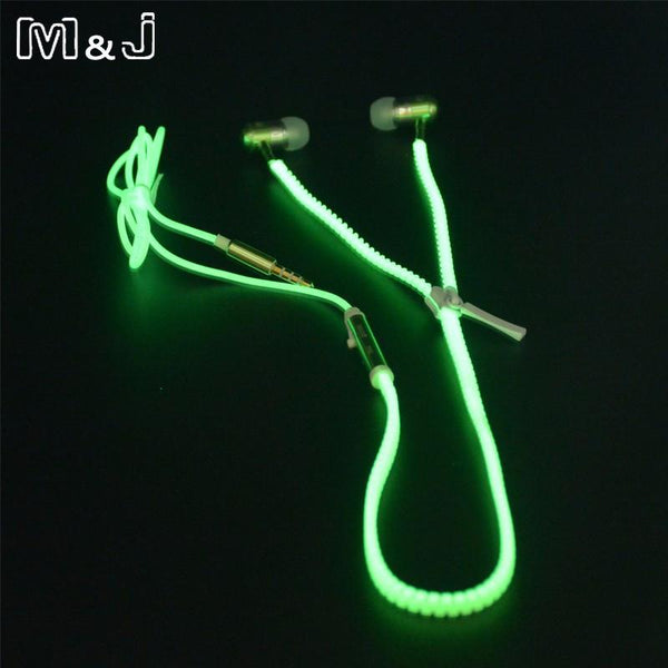 Glowing Earphone Luminous Light Zipper Earbuds With Mic - Shop Get High Cannabis Clothing & Gear