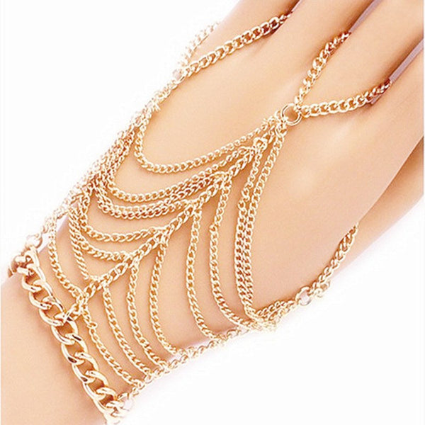 Hindi Style Bohemian Gold Finger Bracelet - Shop Get High Cannabis Clothing & Gear