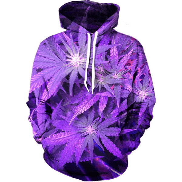 3D Purple Cannabis Leaf Print Hoodie - Shop Get High Cannabis Clothing & Gear