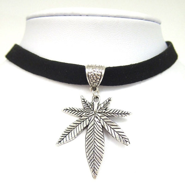 "Necklace - Black Flat Faux Suede Leather Cannabis Leaf Charm 13"" Choker Necklace"