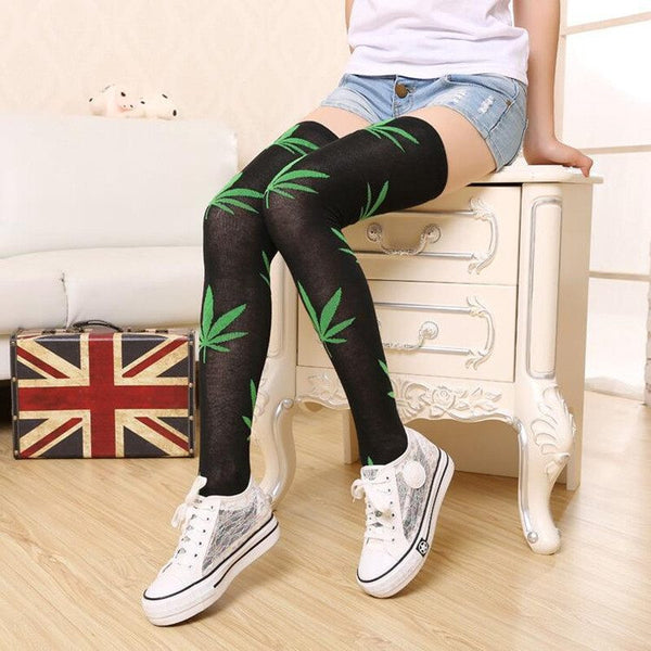 "Cannabis Leaf  ""Thigh High"" Over the Knee Stockings/Socks - Shop Get High Cannabis Clothing & Gear"