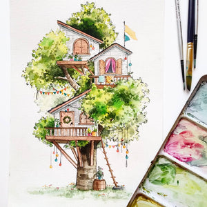 Custom Treehouse, House, or Shop Watercolor by Peregrina - Common Room PH