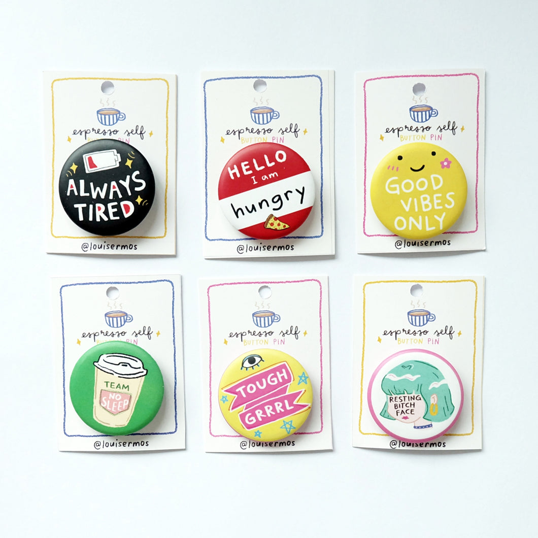 Espresso Self Button Pin - Common Room PH