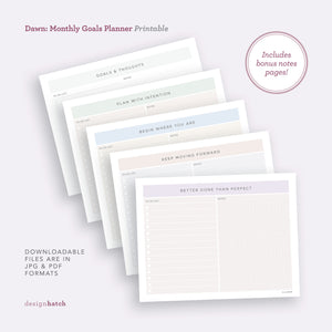 Dawn: Goals Planner Printables - Common Room PH
