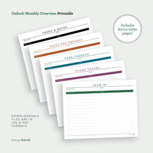 Oxford: Monthly Planner Printables - Common Room PH