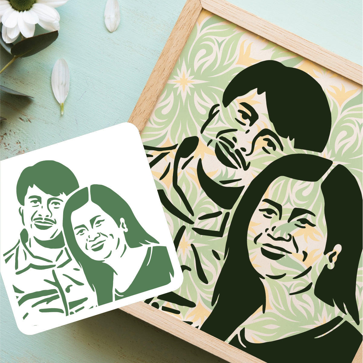 Custom Portrait Stencil Art by The Cork Project - Common Room PH