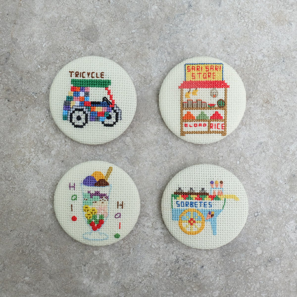 Cross-stitched Pins
