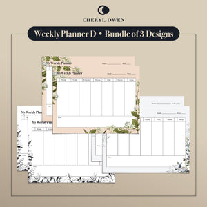 Printable Weekly Planners by Cheryl Owen - Common Room PH