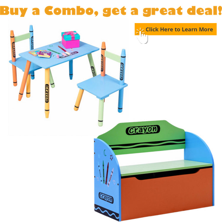 kids table set and toy storage box