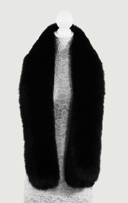 Black Long Fox Fur Collar