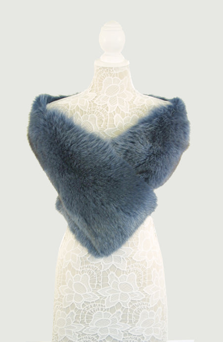 Blue Fox Fur Shrug