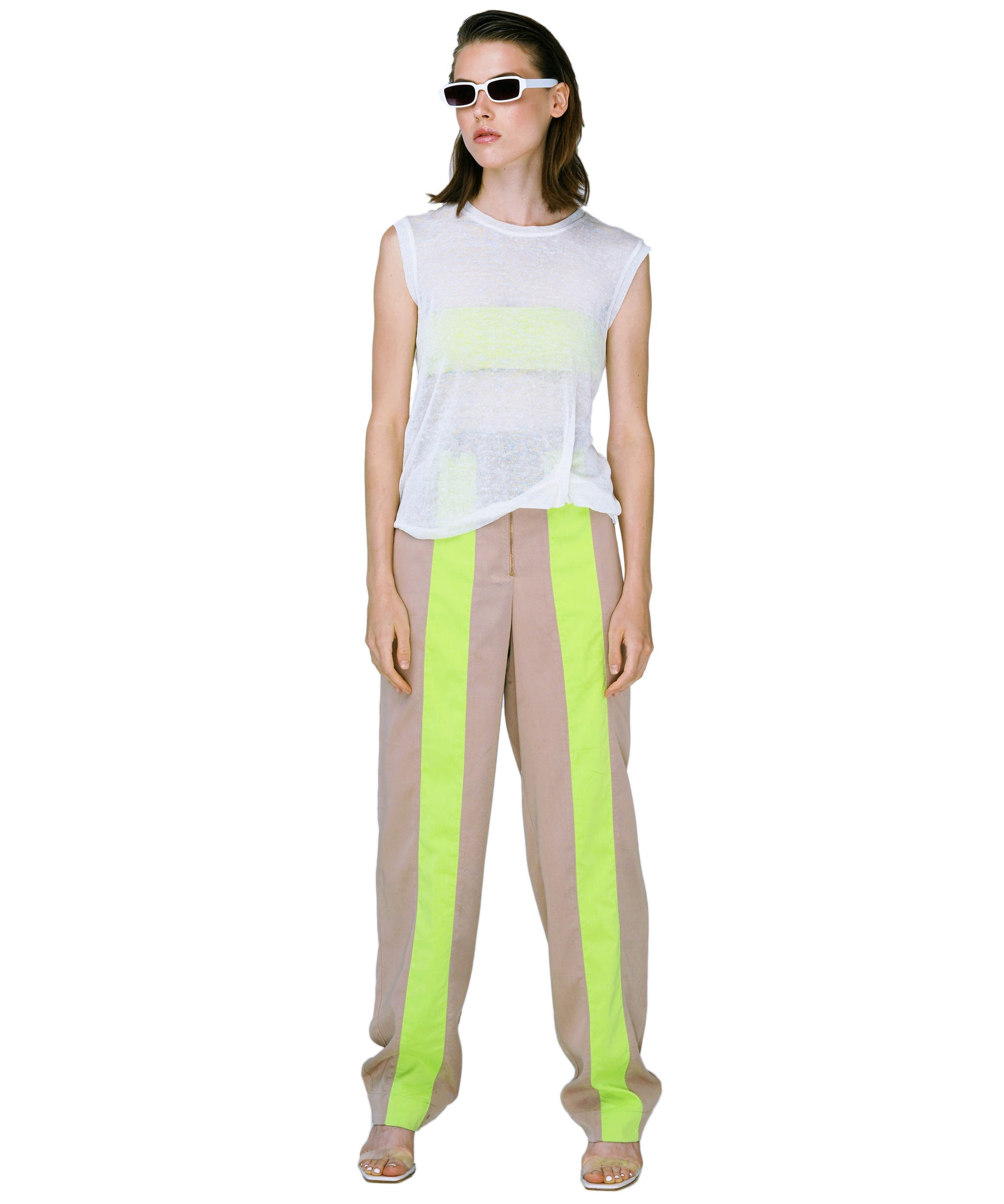 Straight leg tencel trousers with neon stripe KO by KOLOTIY