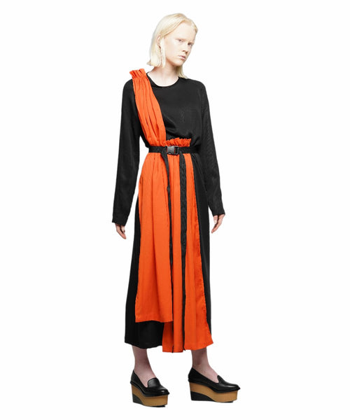 Black tencel dress with orange panels - KO by Kolotiy