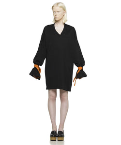 Oversized black cotton jersey dress - KO by Kolotiy