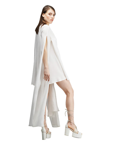 White tencel wrap dress with extra-long sleeves KO by KOLOTIY