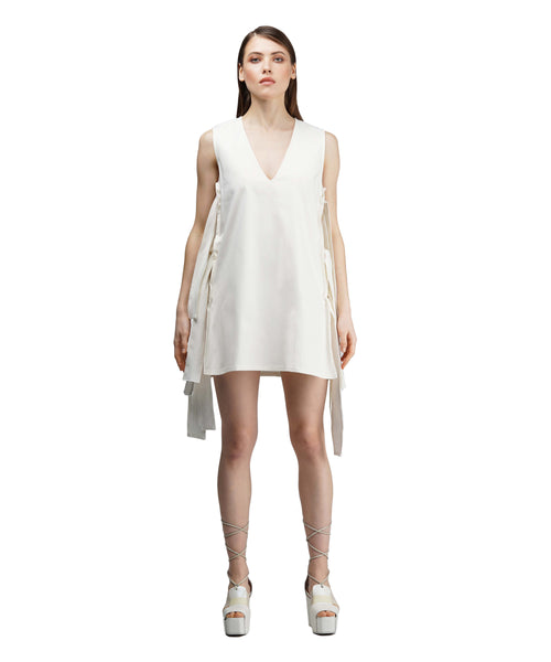 White cotton dress with ties on the sides KO by KOLOTIY