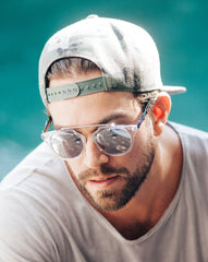 Eighty6 Overhang White and Silver Sunglasses Men