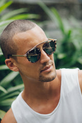 Eighty6 Mischief Brown Marble Sunglasses Men