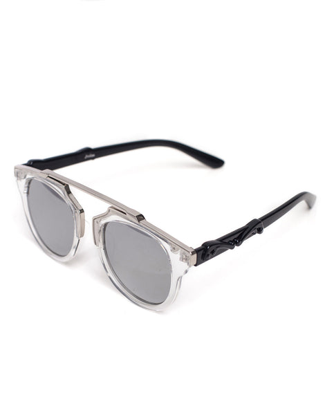Overhang White and Silver Sunglasses