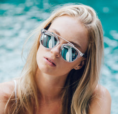 Eighty6 Overhang White and Silver Sunglasses Women