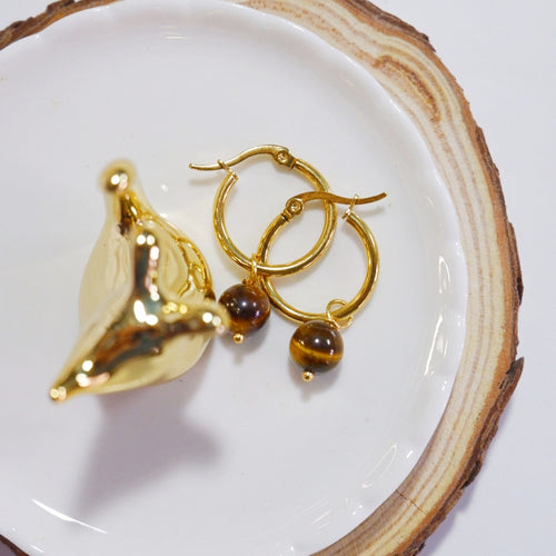 Tiger's Eye Hoop Earrings