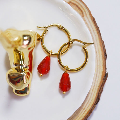 Red Agate Teardrop Earrings
