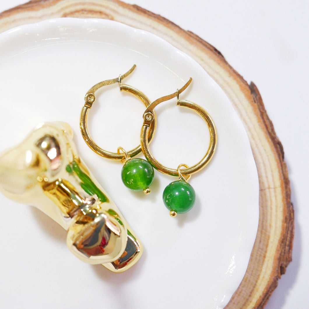 Aventurine Hoop Earrings