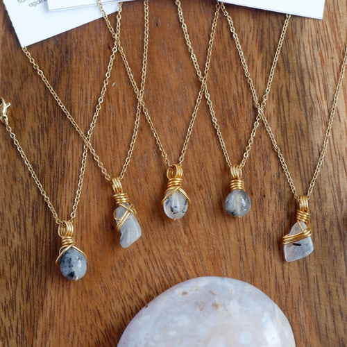 Free-form Tourmalinated Quartz Crystal Necklace
